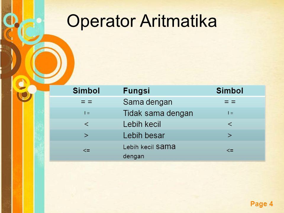 Free Powerpoint Templates Page 14 Tabel Operator Relasi SimbolFungsi = Sama dengan .