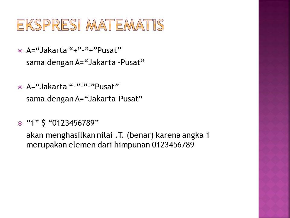 " A=""Jakarta ""+""-""+""Pusat"" sama dengan A=""Jakarta -Pusat""  A=""Jakarta ""-""-""-""Pusat"" sama dengan A=""Jakarta-Pusat""  ""1"" $ ""0123456789"" akan menghasil"