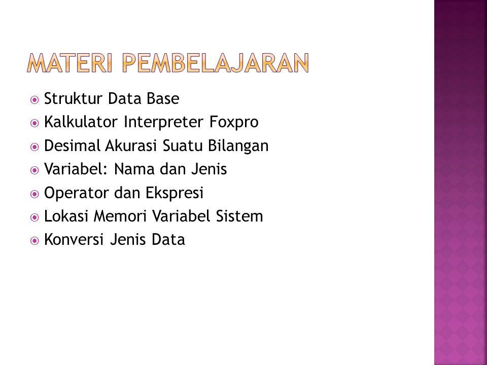  Struktur Data Base  Kalkulator Interpreter Foxpro  Desimal Akurasi Suatu Bilangan  Variabel: Nama dan Jenis  Operator dan Ekspresi  Lokasi Memo