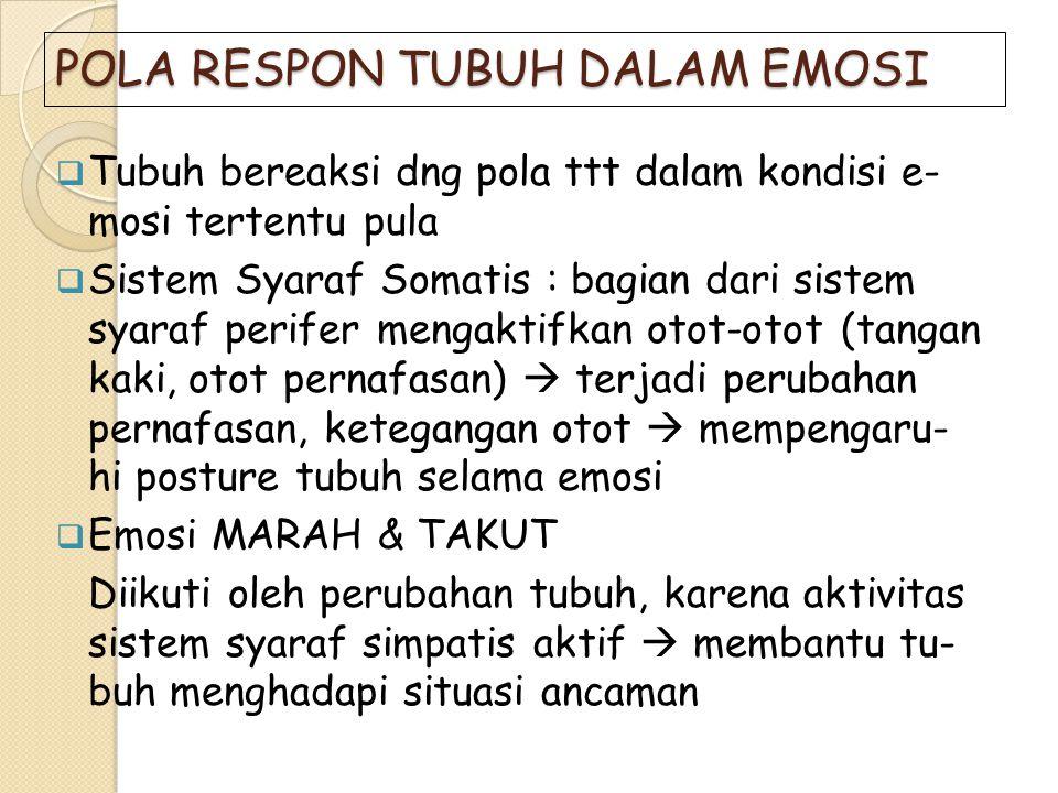 POLA RESPON TUBUH DALAM EMOSI  Tubuh bereaksi dng pola ttt dalam kondisi e- mosi tertentu pula  Sistem Syaraf Somatis : bagian dari sistem syaraf pe