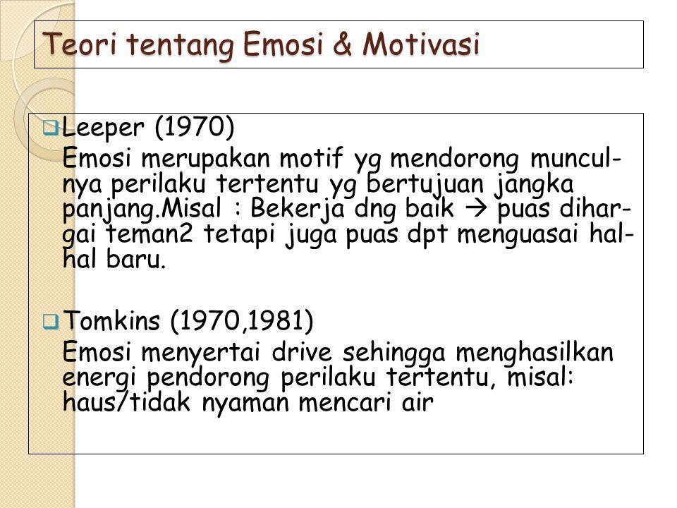 Teori tentang Emosi & Motivasi  Leeper (1970) Emosi merupakan motif yg mendorong muncul- nya perilaku tertentu yg bertujuan jangka panjang.Misal : Be