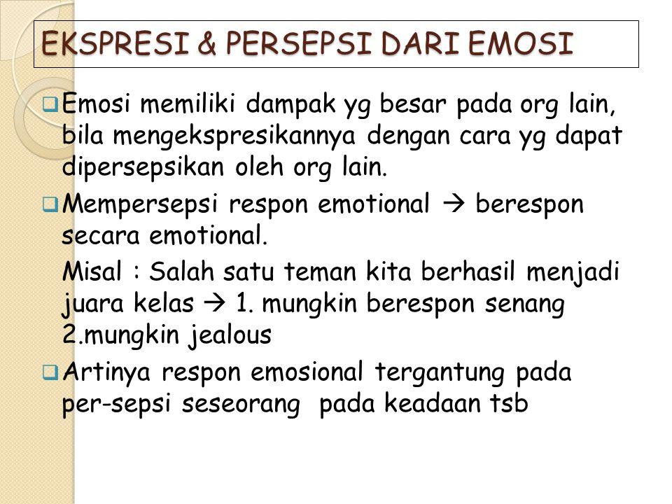 EKSPRESI & PERSEPSI DARI EMOSI  Emosi memiliki dampak yg besar pada org lain, bila mengekspresikannya dengan cara yg dapat dipersepsikan oleh org lai