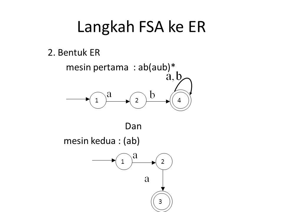 Langkah FSA ke ER 142 2. Bentuk ER mesin pertama : ab(aub)* Dan mesin kedua : (ab) 12 3