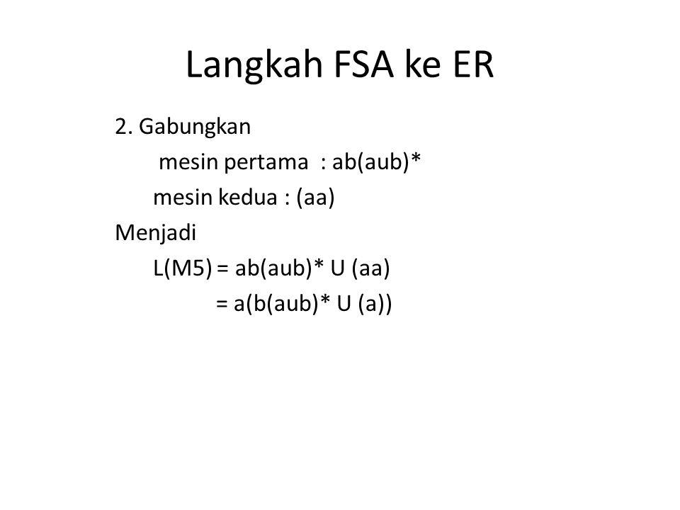 Langkah FSA ke ER 2. Gabungkan mesin pertama : ab(aub)* mesin kedua : (aa) Menjadi L(M5) = ab(aub)* U (aa) = a(b(aub)* U (a))