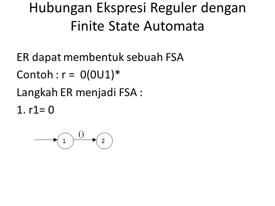 Hubungan Ekspresi Reguler dengan Finite State Automata ER dapat membentuk sebuah FSA Contoh : r = 0(0U1)* Langkah ER menjadi FSA : 1. r1= 0 12