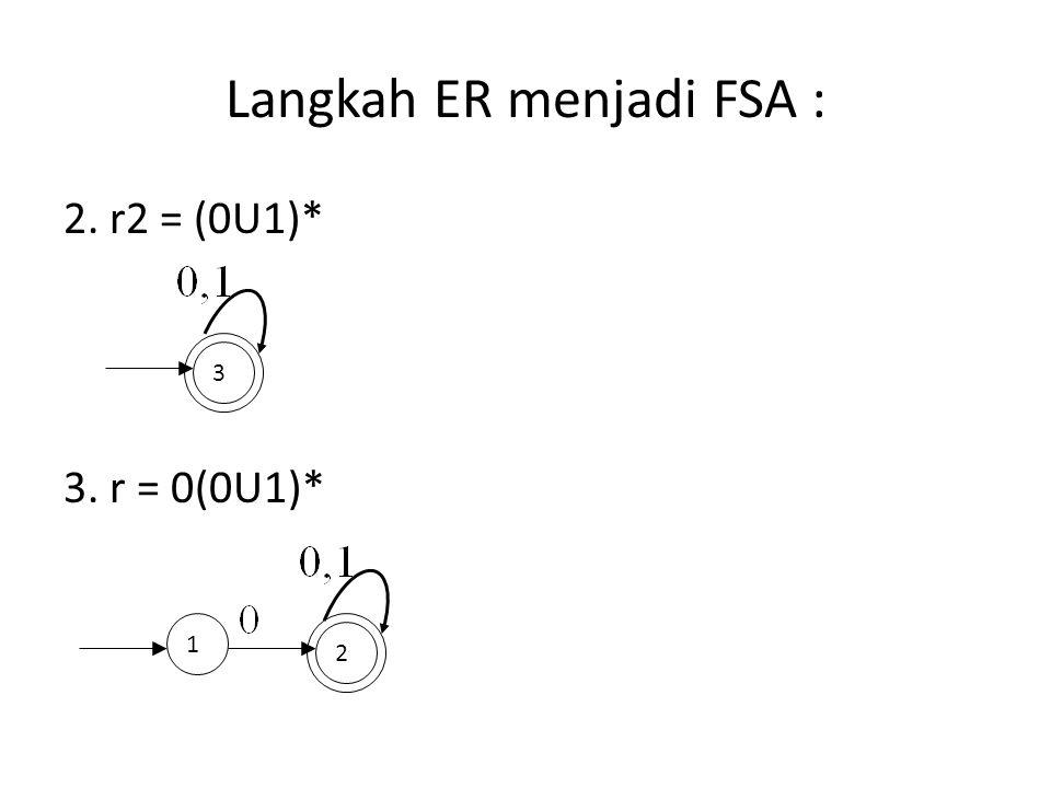 Langkah ER menjadi FSA : 2. r2 = (0U1)* 3. r = 0(0U1)* 3 1 2