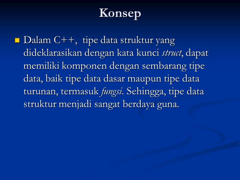 Konsep Dalam C++, tipe data struktur yang dideklarasikan dengan kata kunci struct, dapat memiliki komponen dengan sembarang tipe data, baik tipe data