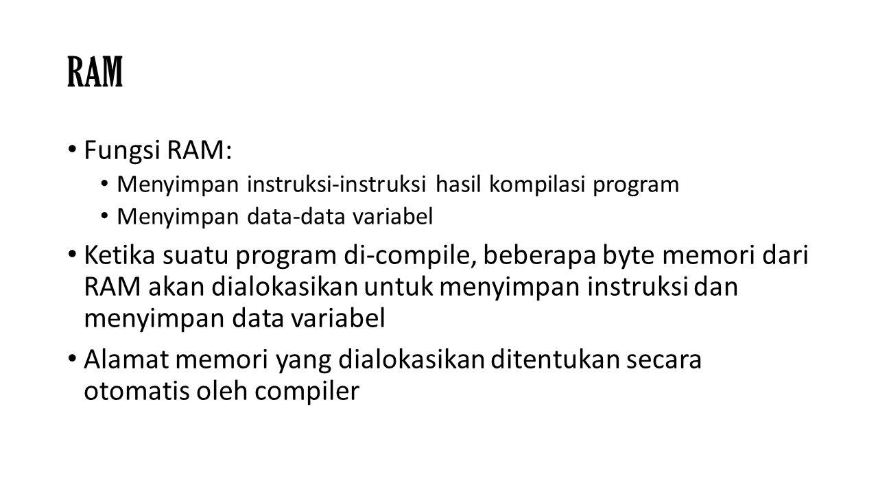 RAM Fungsi RAM: Menyimpan instruksi-instruksi hasil kompilasi program Menyimpan data-data variabel Ketika suatu program di-compile, beberapa byte memo
