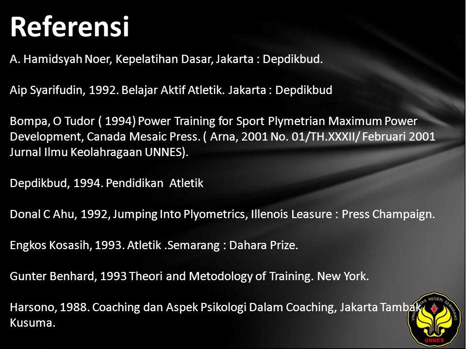 Referensi A. Hamidsyah Noer, Kepelatihan Dasar, Jakarta : Depdikbud. Aip Syarifudin, 1992. Belajar Aktif Atletik. Jakarta : Depdikbud Bompa, O Tudor (
