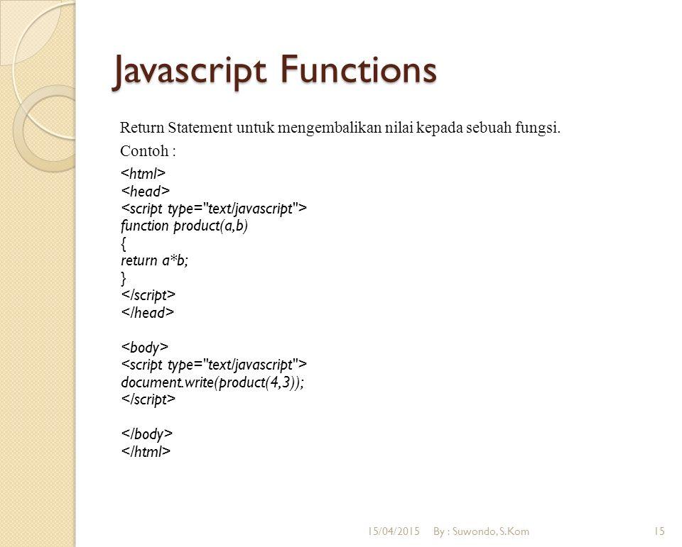 Javascript Functions Return Statement untuk mengembalikan nilai kepada sebuah fungsi. Contoh : function product(a,b) { return a*b; } document.write(pr