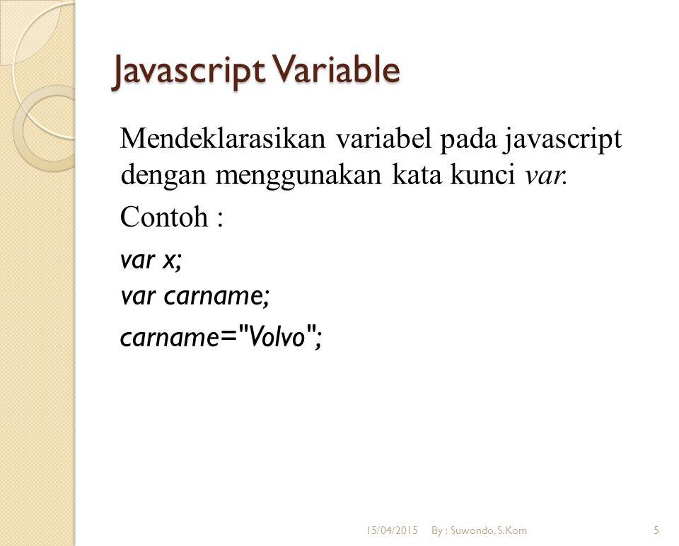 Javascript Variable Mendeklarasikan variabel pada javascript dengan menggunakan kata kunci var. Contoh : var x; var carname; carname=