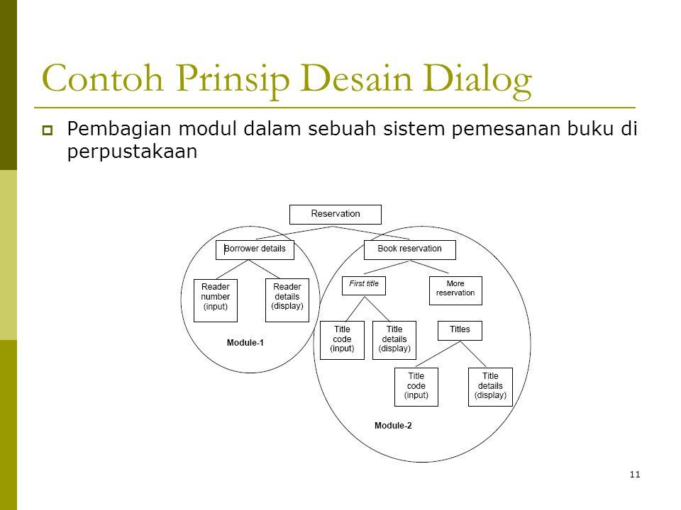 Contoh Prinsip Desain Dialog  Pembagian modul dalam sebuah sistem pemesanan buku di perpustakaan 11
