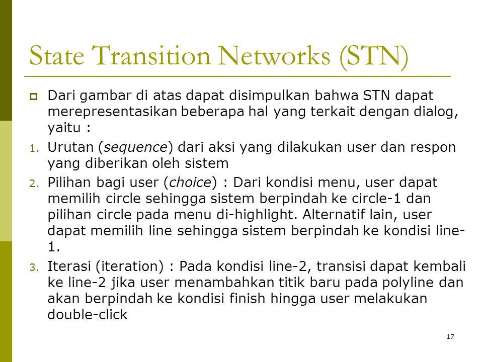 State Transition Networks (STN) 17  Dari gambar di atas dapat disimpulkan bahwa STN dapat merepresentasikan beberapa hal yang terkait dengan dialog,