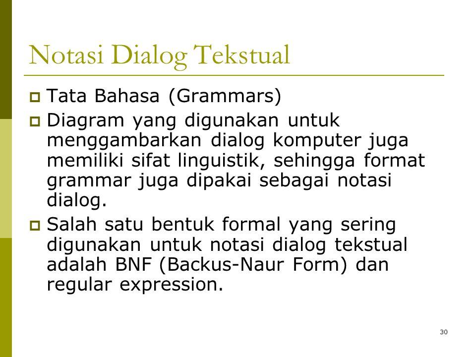 Notasi Dialog Tekstual  Tata Bahasa (Grammars)  Diagram yang digunakan untuk menggambarkan dialog komputer juga memiliki sifat linguistik, sehingga