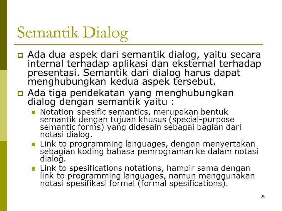 Semantik Dialog  Ada dua aspek dari semantik dialog, yaitu secara internal terhadap aplikasi dan eksternal terhadap presentasi. Semantik dari dialog