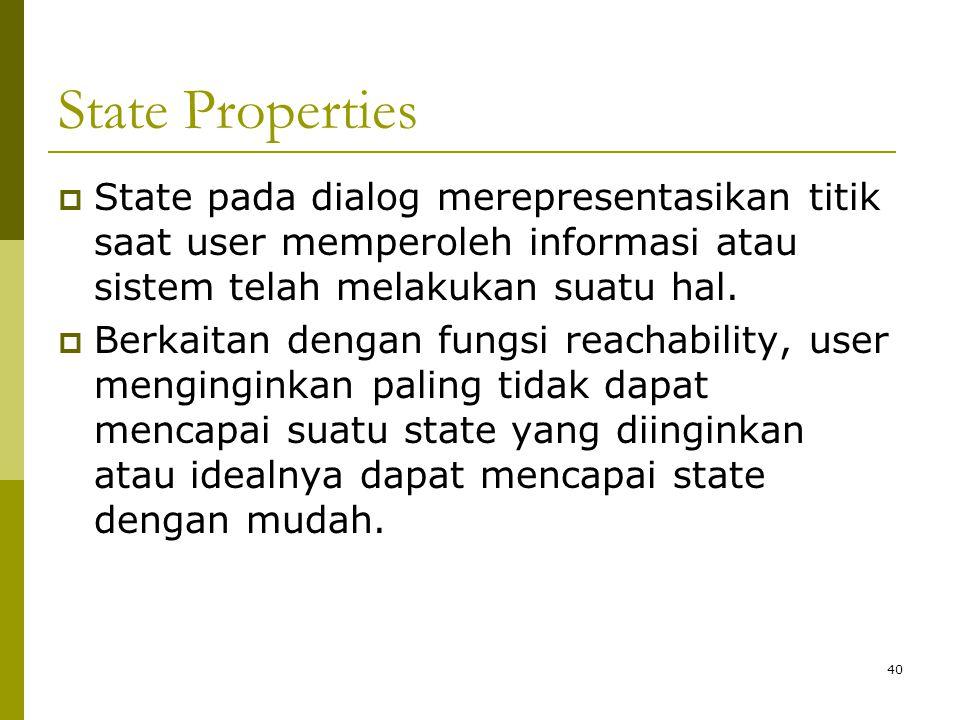 State Properties  State pada dialog merepresentasikan titik saat user memperoleh informasi atau sistem telah melakukan suatu hal.  Berkaitan dengan