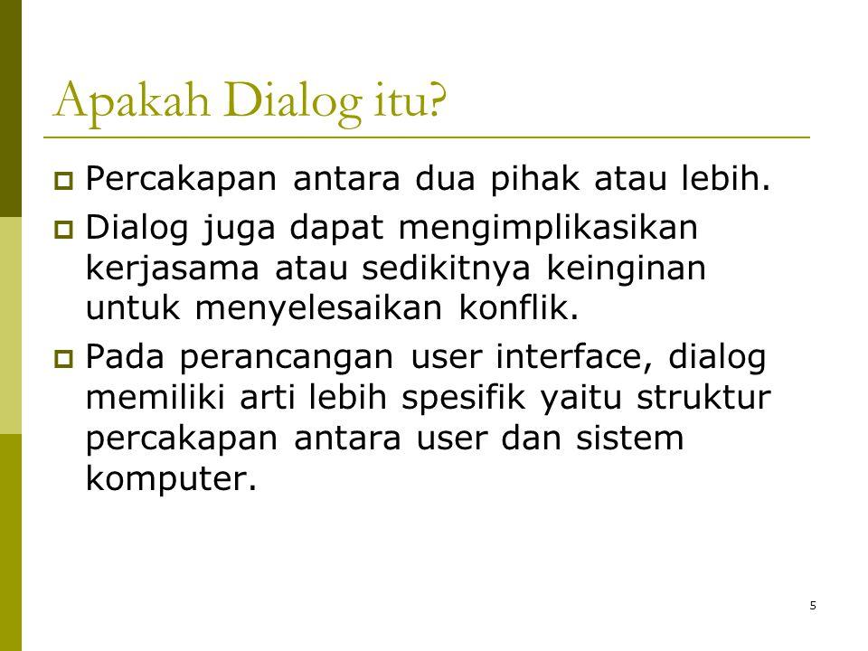 Apakah Dialog itu?  Percakapan antara dua pihak atau lebih.  Dialog juga dapat mengimplikasikan kerjasama atau sedikitnya keinginan untuk menyelesai