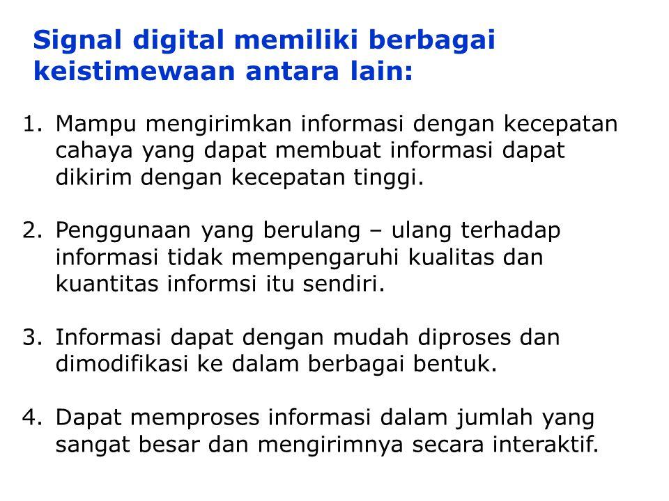 1.Mampu mengirimkan informasi dengan kecepatan cahaya yang dapat membuat informasi dapat dikirim dengan kecepatan tinggi. 2.Penggunaan yang berulang –