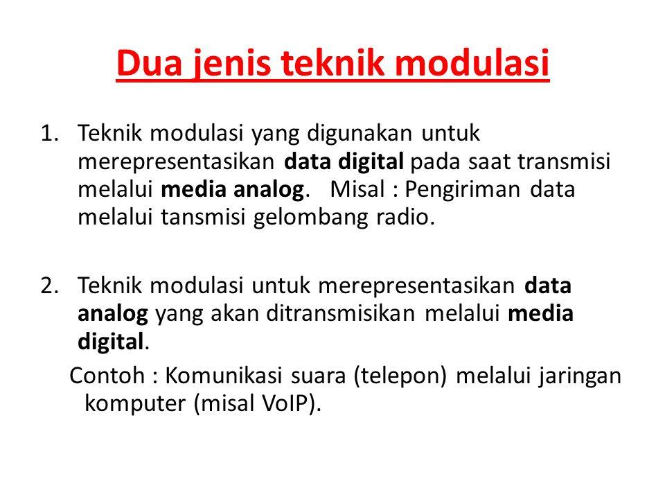 Dua jenis teknik modulasi 1.Teknik modulasi yang digunakan untuk merepresentasikan data digital pada saat transmisi melalui media analog. Misal : Peng