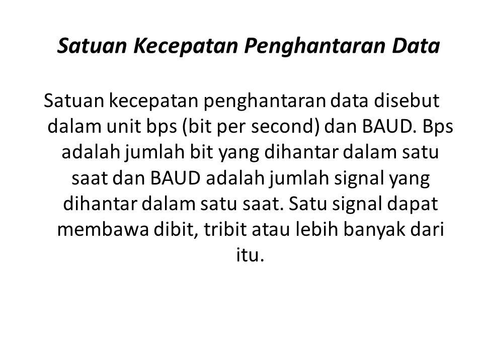 Satuan Kecepatan Penghantaran Data Satuan kecepatan penghantaran data disebut dalam unit bps (bit per second) dan BAUD. Bps adalah jumlah bit yang dih