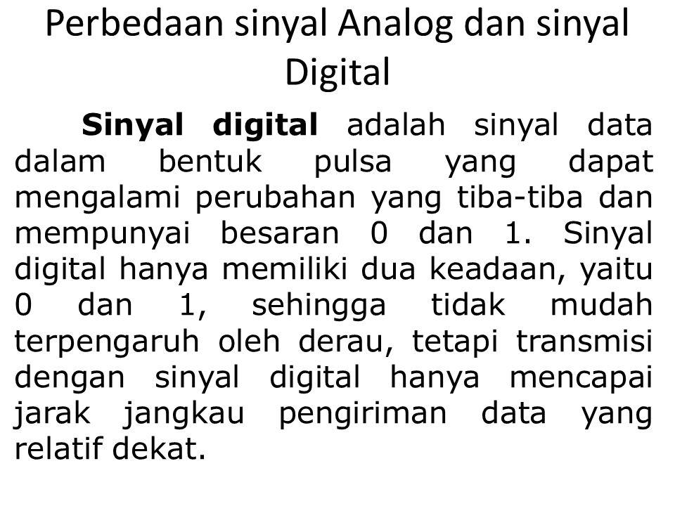 Perbedaan sinyal Analog dan sinyal Digital Sinyal digital adalah sinyal data dalam bentuk pulsa yang dapat mengalami perubahan yang tiba-tiba dan memp