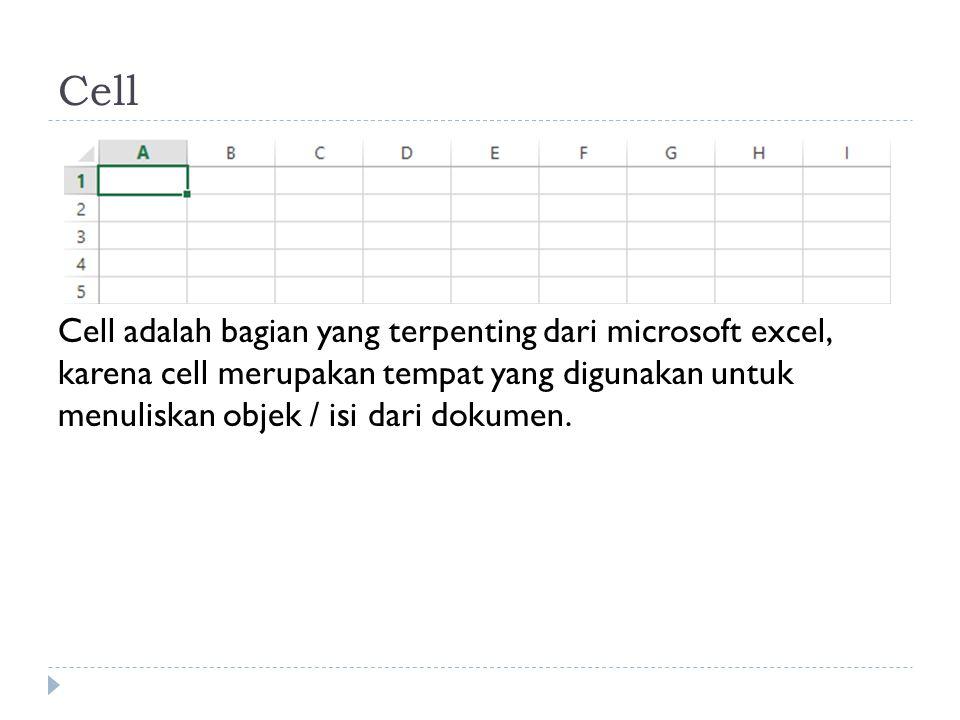 Cell Cell adalah bagian yang terpenting dari microsoft excel, karena cell merupakan tempat yang digunakan untuk menuliskan objek / isi dari dokumen.