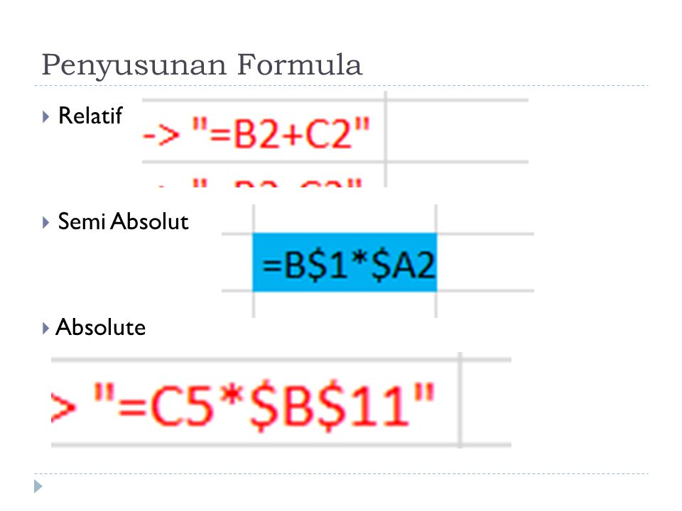Penyusunan Formula  Relatif  Semi Absolut  Absolute