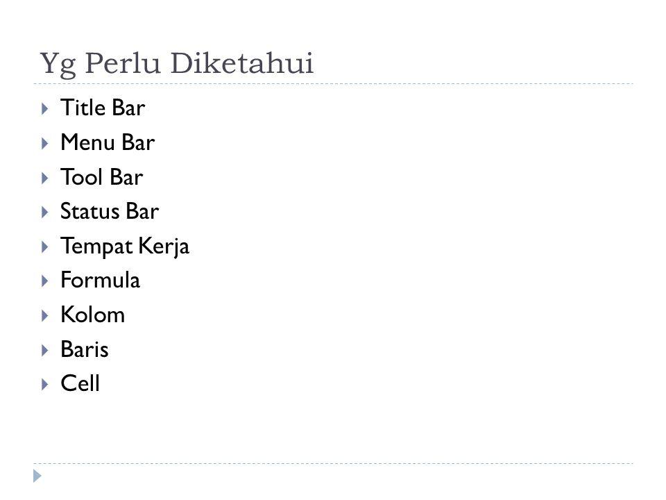 Yg Perlu Diketahui  Title Bar  Menu Bar  Tool Bar  Status Bar  Tempat Kerja  Formula  Kolom  Baris  Cell