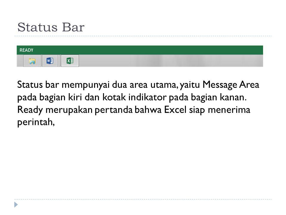 Status Bar Status bar mempunyai dua area utama, yaitu Message Area pada bagian kiri dan kotak indikator pada bagian kanan. Ready merupakan pertanda ba