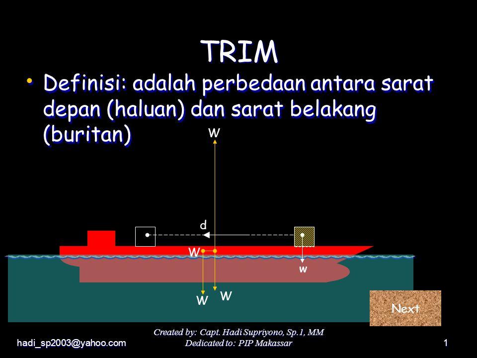 hadi_sp2003@yahoo.com Created by: Capt. Hadi Supriyono, Sp.1, MM Dedicated to: PIP Makassar1 d Definisi: adalah perbedaan antara sarat depan (haluan)