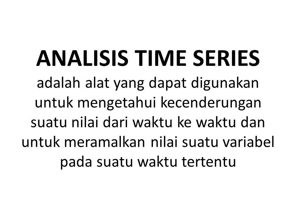 ANALISIS TIME SERIES adalah alat yang dapat digunakan untuk mengetahui kecenderungan suatu nilai dari waktu ke waktu dan untuk meramalkan nilai suatu