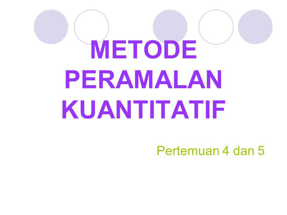 Peramalan Kuantitatif Peramalan yang didasarkan atas data kuantitatif pada masa lalu.