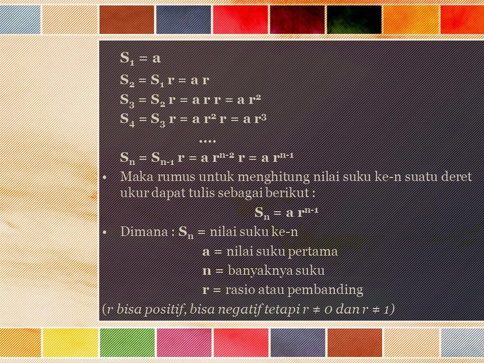 S 1 = a S 2 = S 1 r = a r S 3 = S 2 r = a r r = a r 2 S 4 = S 3 r = a r 2 r = a r 3.... S n = S n-1 r = a r n-2 r = a r n-1 Maka rumus untuk menghitun