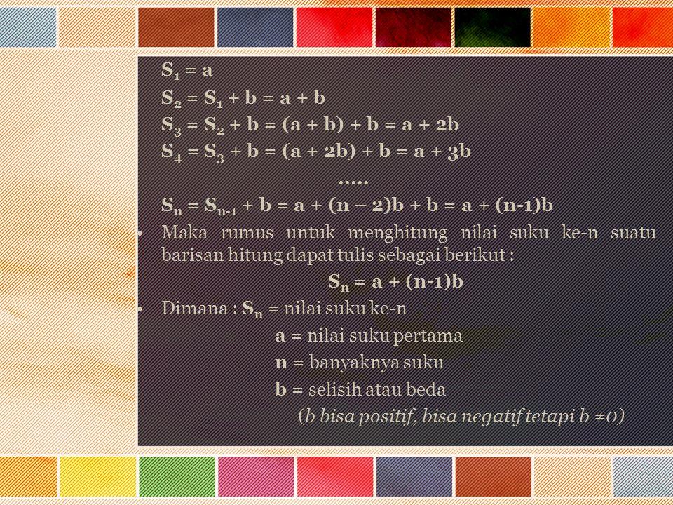 S 1 = a S 2 = S 1 + b = a + b S 3 = S 2 + b = (a + b) + b = a + 2b S 4 = S 3 + b = (a + 2b) + b = a + 3b..... S n = S n-1 + b = a + (n – 2)b + b = a +