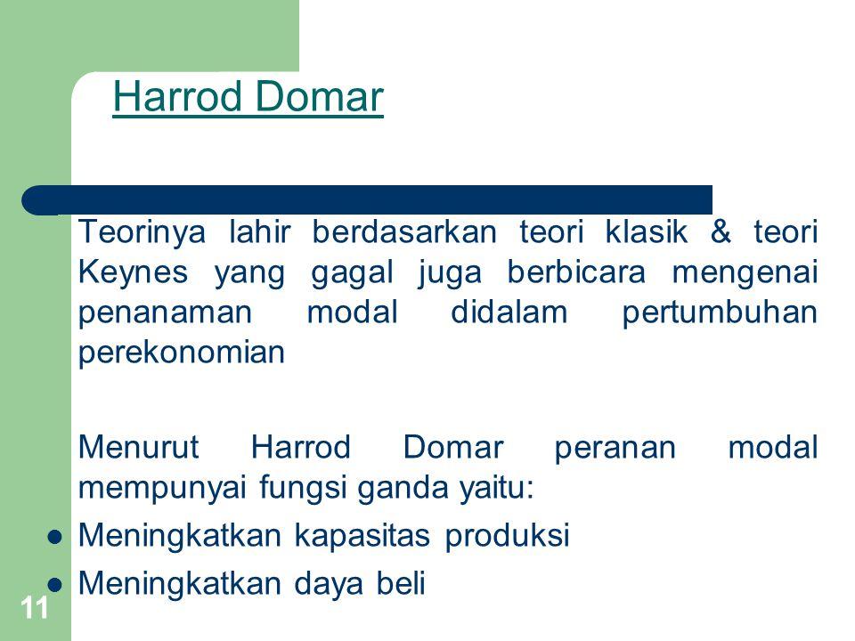 11 Harrod Domar Teorinya lahir berdasarkan teori klasik & teori Keynes yang gagal juga berbicara mengenai penanaman modal didalam pertumbuhan perekonomian Menurut Harrod Domar peranan modal mempunyai fungsi ganda yaitu: Meningkatkan kapasitas produksi Meningkatkan daya beli