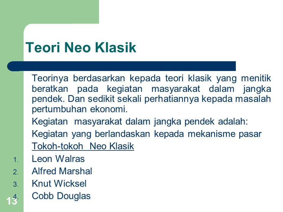 13 Teori Neo Klasik Teorinya berdasarkan kepada teori klasik yang menitik beratkan pada kegiatan masyarakat dalam jangka pendek.