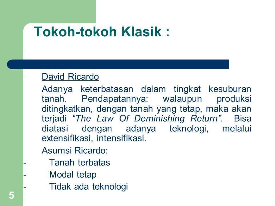 5 Tokoh-tokoh Klasik : David Ricardo Adanya keterbatasan dalam tingkat kesuburan tanah.