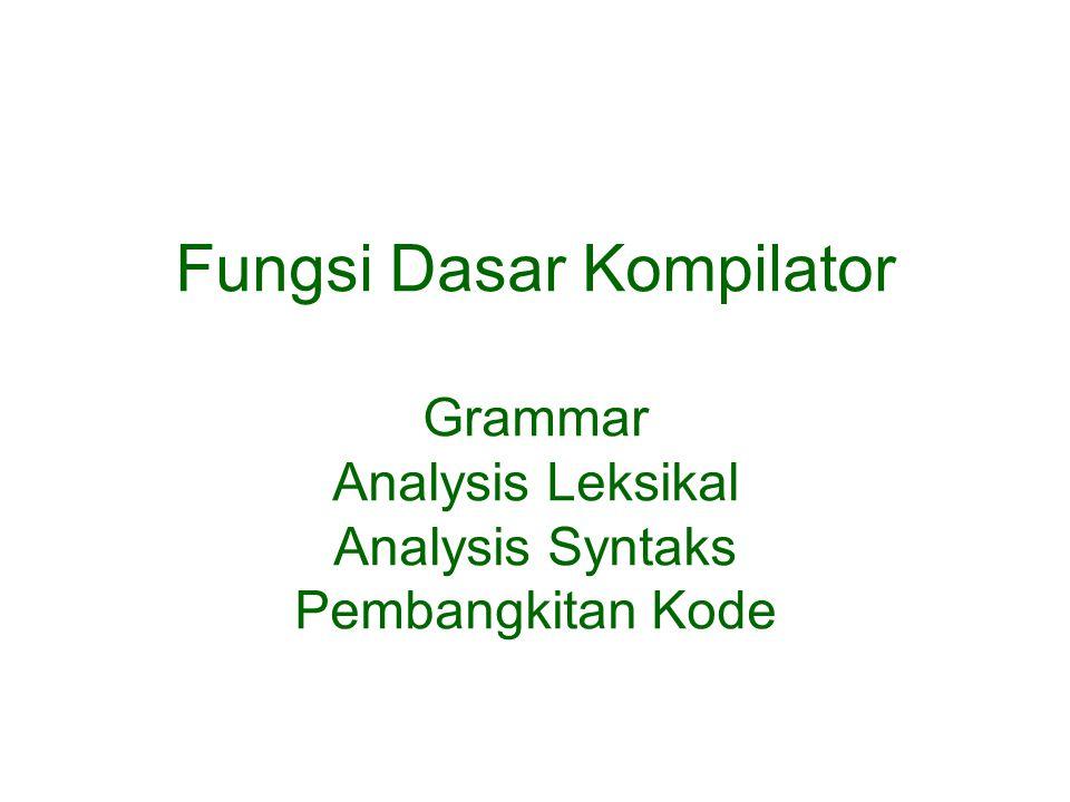 Bahasa Pemrograman Tingkat Tinggi Bahasa pemrograman tingkat tinggi dideskripsikan dalam grammar, yang menspesifikasi sintaks statement yang legal.