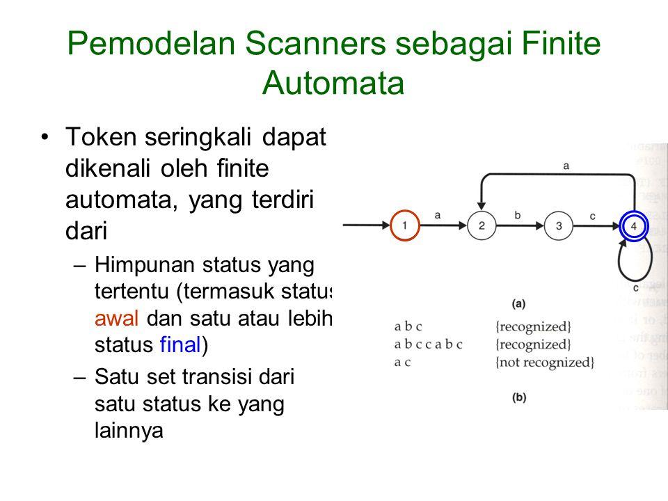 Pemodelan Scanners sebagai Finite Automata Token seringkali dapat dikenali oleh finite automata, yang terdiri dari –Himpunan status yang tertentu (termasuk status awal dan satu atau lebih status final) –Satu set transisi dari satu status ke yang lainnya