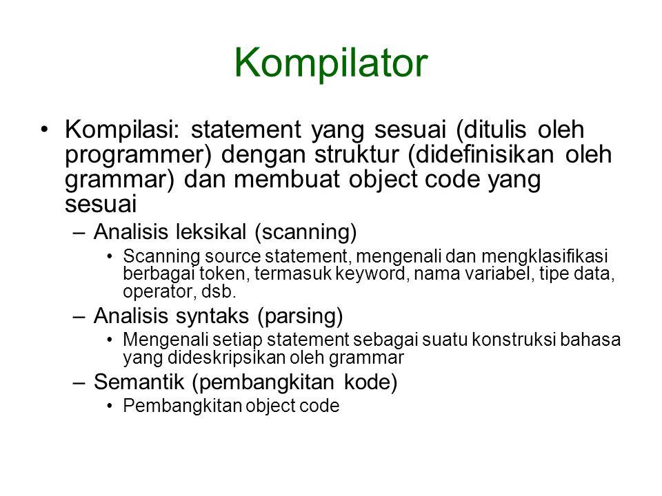 Kompilator Kompilasi: statement yang sesuai (ditulis oleh programmer) dengan struktur (didefinisikan oleh grammar) dan membuat object code yang sesuai –Analisis leksikal (scanning) Scanning source statement, mengenali dan mengklasifikasi berbagai token, termasuk keyword, nama variabel, tipe data, operator, dsb.