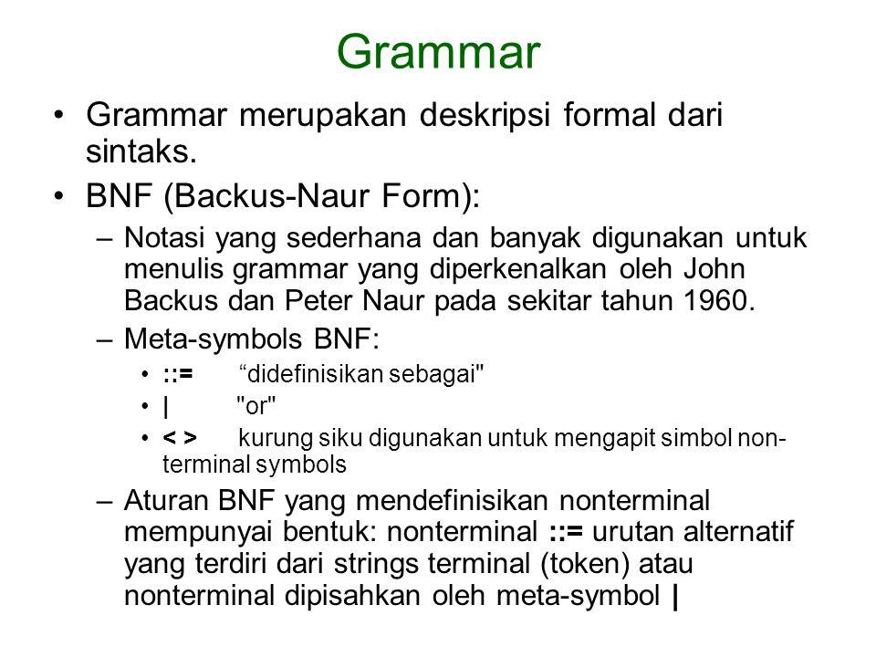 Grammar Grammar merupakan deskripsi formal dari sintaks.