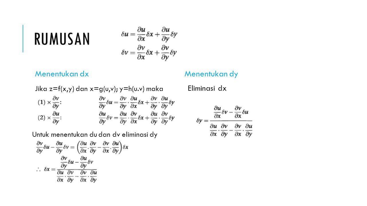 RUMUSAN Menentukan dx Jika z=f(x,y) dan x=g(u,v); y=h(u.v) maka Untuk menentukan du dan dv eliminasi dy Kurangkan Menentukan dy Eliminasi dx