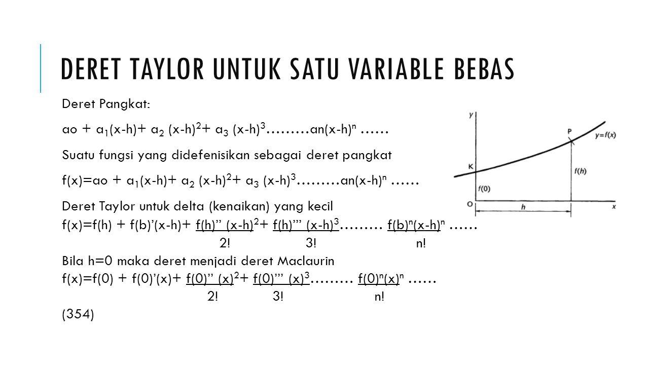 DERET TAYLOR UNTUK SATU VARIABLE BEBAS Deret Pangkat: ao + a 1 (x-h)+ a 2 (x-h) 2 + a 3 (x-h) 3 ………an(x-h) n …… Suatu fungsi yang didefenisikan sebaga