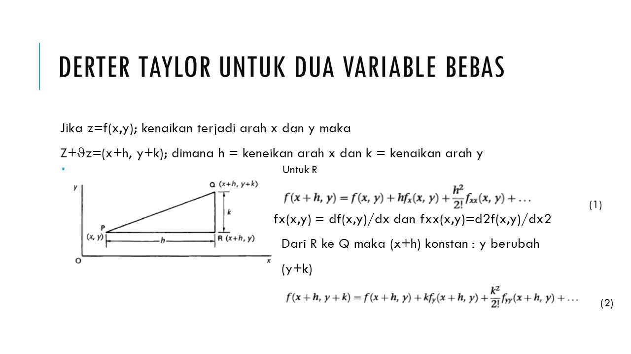 DERTER TAYLOR UNTUK DUA VARIABLE BEBAS Jika z=f(x,y); kenaikan terjadi arah x dan y maka Z+ z=(x+h, y+k); dimana h = keneikan arah x dan k = kenaikan