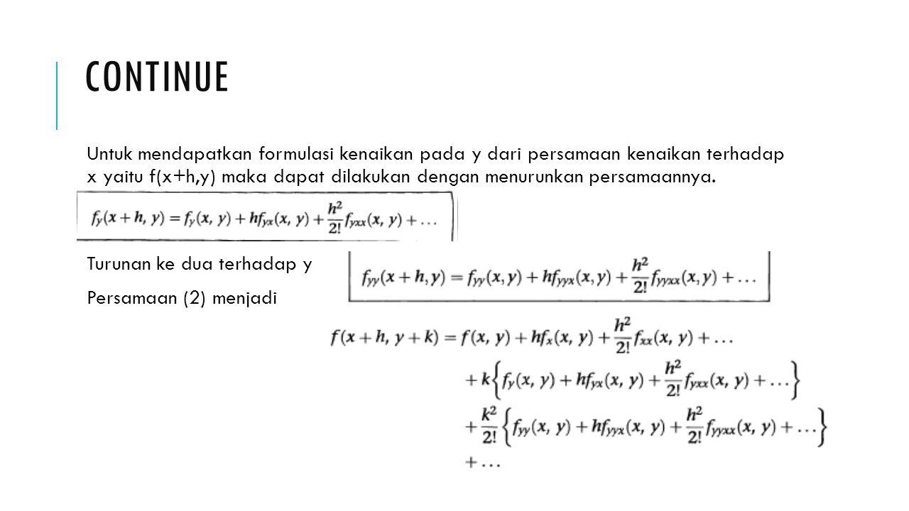 TEOREMA TAYLOR UNTUK 2 VARIABLE BEBAS Bila persamaan yang diambil hanya sampai turunan kedua maka akan menjadi Jika z=f(x,y); h=dx dan k=dy maka teorema taylor dapat ditulis Bila z dipindahkan ke kiri maka Karena dx dan dy kenaikan yang kecil sehingga turunan berikutnya akan menjadi lebih kecil sehingga bias diabaikan, maka persamaannya akan menjadi