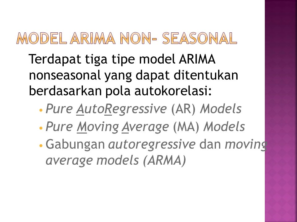 Autoregressive model of order p (AR(p)) i.e., y t depends on its p previous values Contoh pola data AR(2)