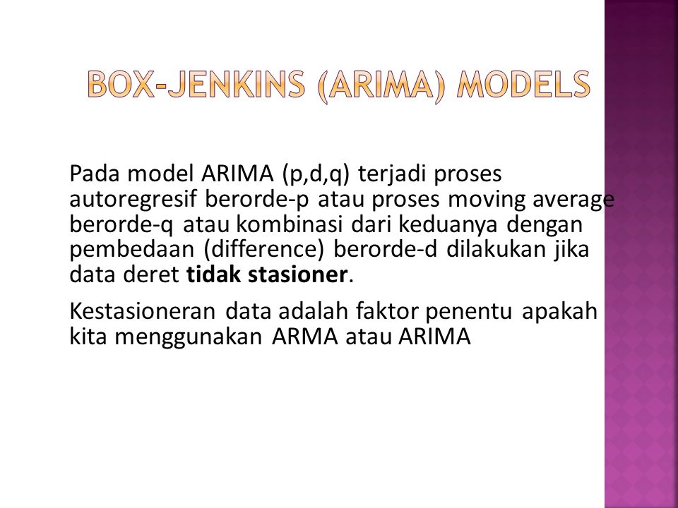 Perilaku model Pure AR(p): Nilai SACF menurun eksponensial (decreases exponentially/tail off) Sample Partial Autocorrelation Function (SPACF) terpotong (cut off) setelah lag p.