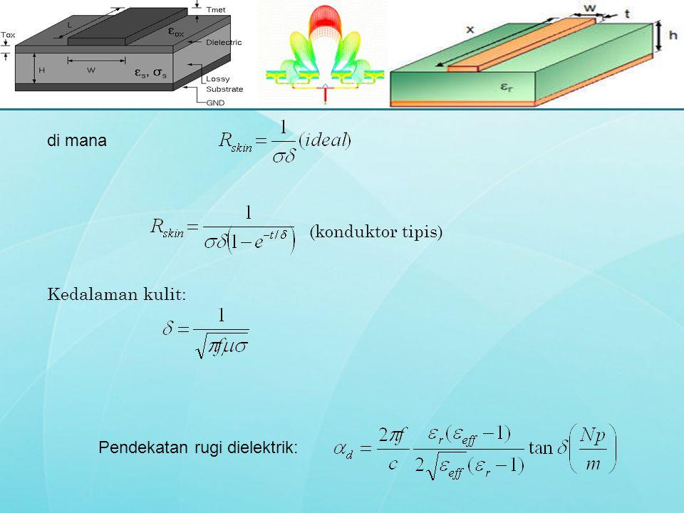 (konduktor tipis) Kedalaman kulit: di mana Pendekatan rugi dielektrik: