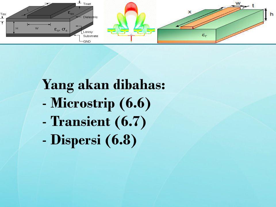 Yang akan dibahas: - Microstrip (6.6) - Transient (6.7) - Dispersi (6.8)