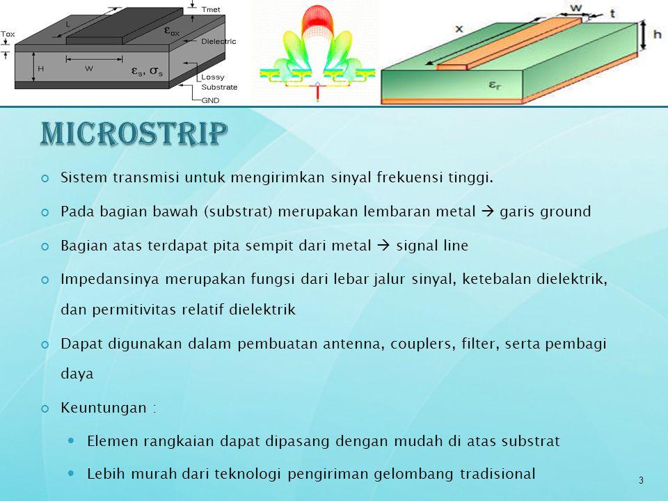 Sistem transmisi untuk mengirimkan sinyal frekuensi tinggi. Pada bagian bawah (substrat) merupakan lembaran metal  garis ground Bagian atas terdapat